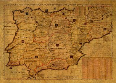 Spain Portugal Map 1789