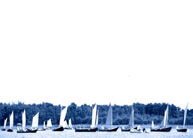 Sailing boats in blue