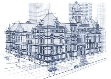 Hand Drawn Old City Hall