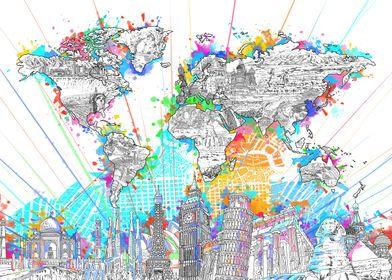 World map skyline