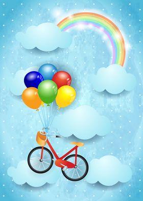 Surreal sky with bike