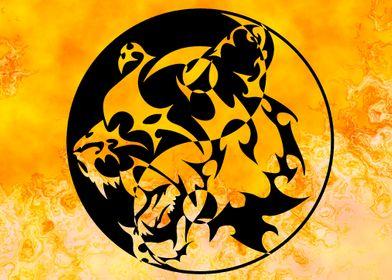 Tiger Yin Yang Flames
