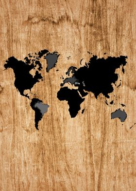 World map on wood