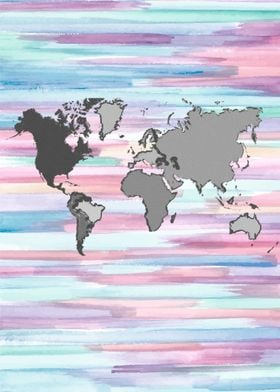 world map in pastel colors