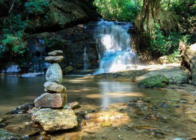 Waterfall and zen stones