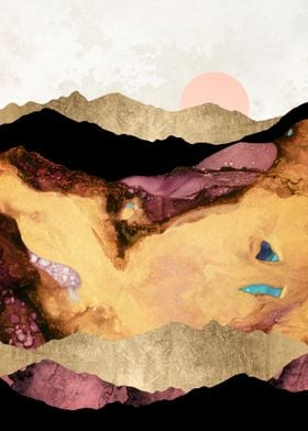 Mauve and Gold Mountains