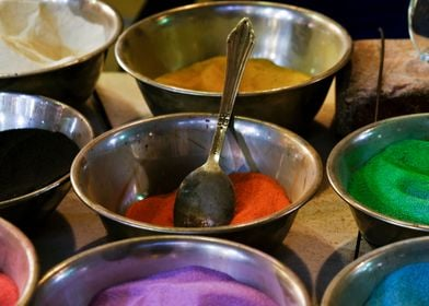 Colorful spices at market
