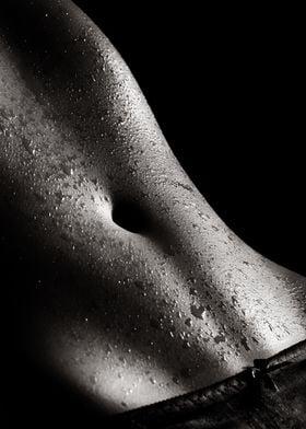 Woman wet abdomen