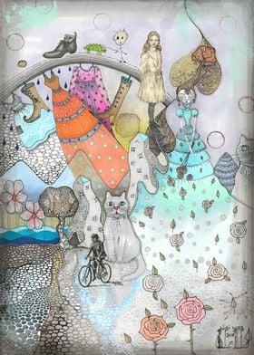 Illustration Two gray cat
