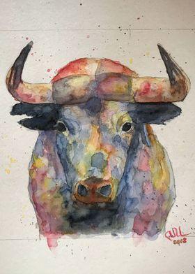 bull in watercolor