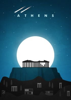 Athens Travel Poster