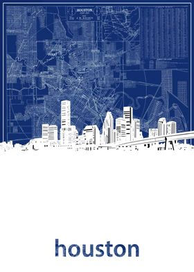 Houston skyline blue