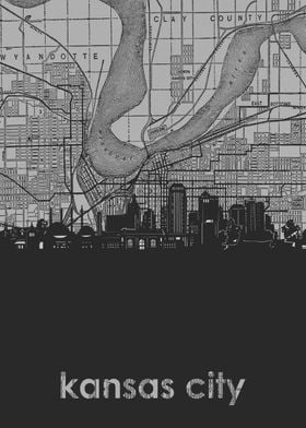 Kansas City skyline grey