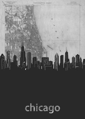 Chicago skyline grey