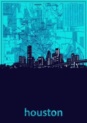 Houston skyline turquoise