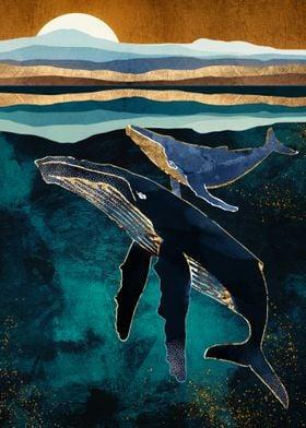 Moonlit Whales