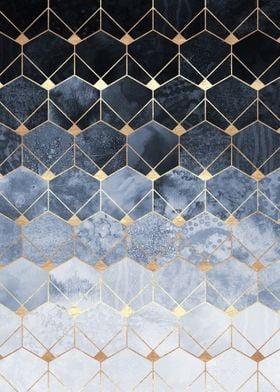 Blue Hexagons And Diamonds