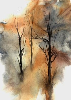 Watercolor Trees 03