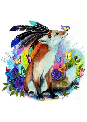Little fox with butterfly