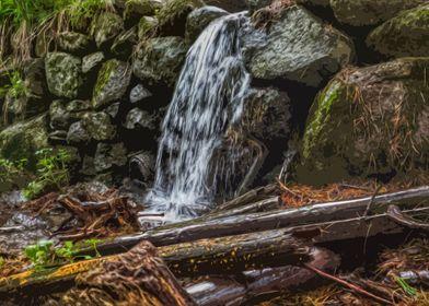 Mountain waterflow art