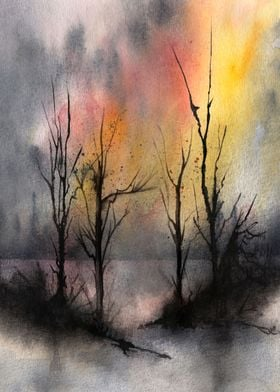 Watercolor Trees 07