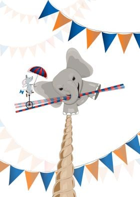 An elephant on a tightrope