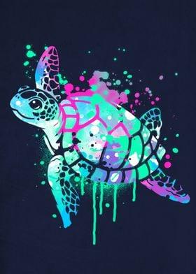 Fluo sea turtle