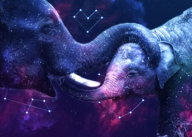 Galaxy Elephant Mom Love