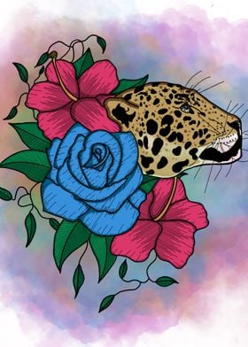 Floral Jaguar Design