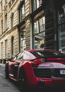 Red Audi R8 Back View