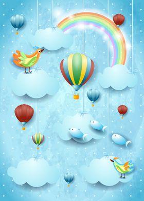 Surreal sky and balloon