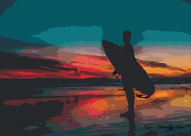 Beach Surfer At  of Sunset