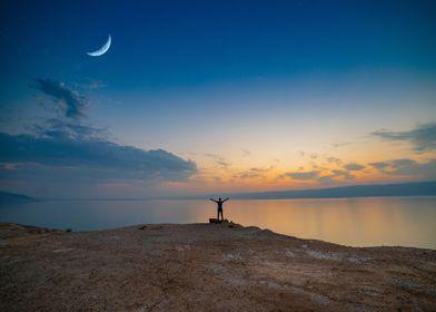 Dead Sea Sunset Moon