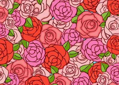 Colorful Roses Abstract