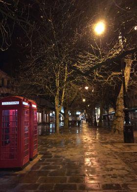 Telephone Box Night Scene