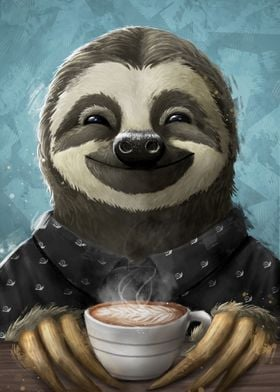 Sloth smilling coffee late