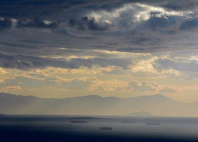 Aegean sea near sundown