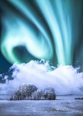 Green aurora in the winter