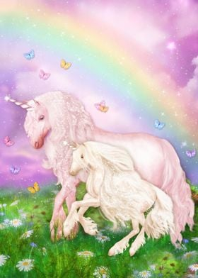 Rainbow Unicorn with Baby
