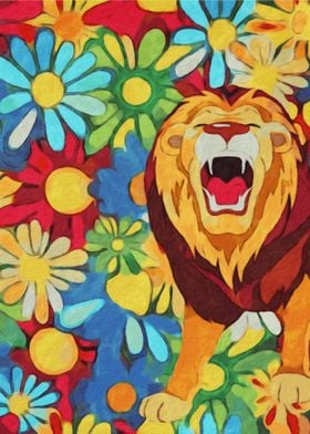 Vibrant Flowers and Lion