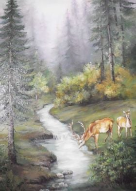 Deers by the water