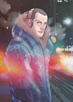 Cold and headphones