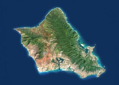 Oahu Satellite Map