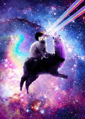 Laser Eyes Cat On Llama