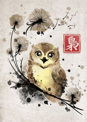 Dandelion owl watercolor