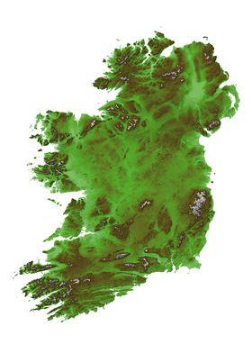 Ireland Terrain Map