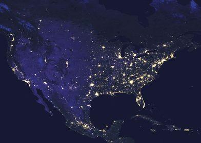 USA at Night Map