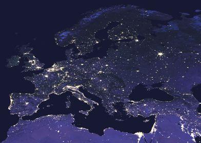 Europe at Night Map