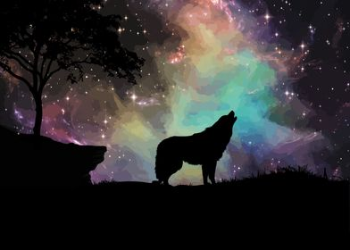 Space wolf starry night