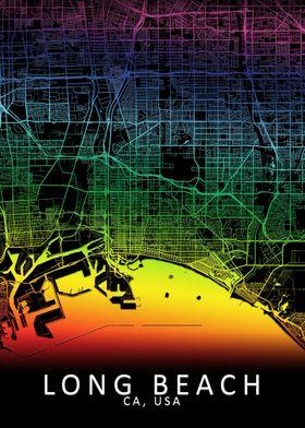 Long Beach CA USA City Map